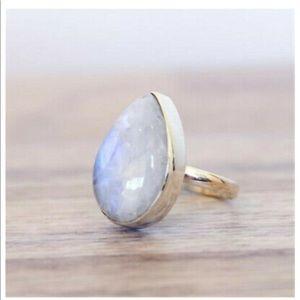 Moonstone ring 925 sterling teardrop shape size 10